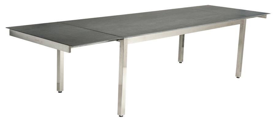 Table extensible cologne en inox et c ramique gris for Table rectangulaire avec rallonge integree