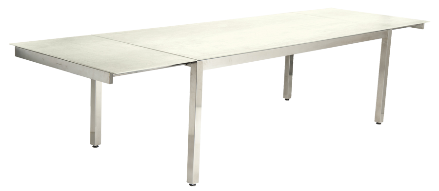 Table extensible cologne en inox et c ramique ivoire avec for Table extensible rallonge integree