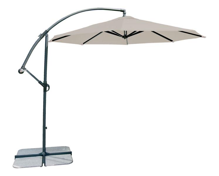 Parasol rond d port aluminium diam tre 3m vert cru taupe - Parasol deporte vert anis ...