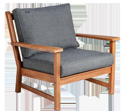 Fauteuil Lounge en Cornis avec coussin gris anthracite ou avoine