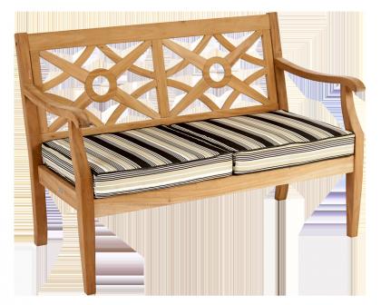 Canapé Heritage Mahogany avec coussin rayé noir/blanc/crème/gris