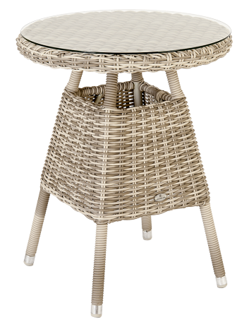 Petite table bistro Kool diam 0.6 m avec sur-plateau verre
