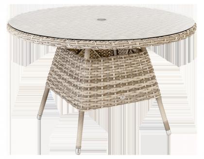 Table ronde Kool diam 1.2 m avec sur-plateau verre