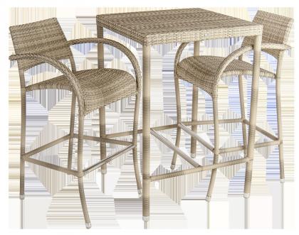 Ensemble Table de bar + 2 tabourets de bar Ocean Pearl