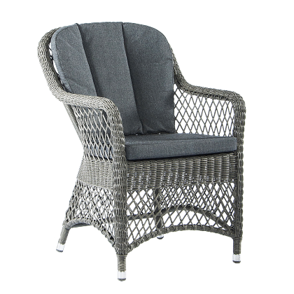 Fauteuil Monte Carlo dossier droit fibre coloris gris vintage avec coussin