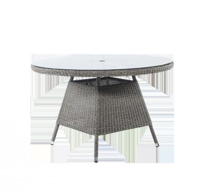 Table ronde Monte Carlo gris vintage 1.2 m avec sur-plateau verre