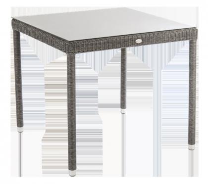 Table carrée Monte Carlo gris vintage 80 x 80cm avec verre