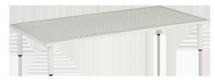 Table basse blanche Beach 122 x 70 x 22.5 cm avec plateau aluminium