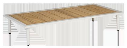 Table basse blanche Beach 122 x 70 x 22.5 cm avec plateau roble