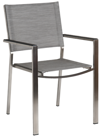 Fauteuil Cologne Empilable Inox et toile polyester gris clair
