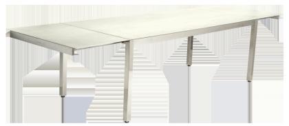 Table extensible Cologne en inox et céramique ivoire avec rallonge intégrée