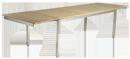 Table extensible Cologne en inox et roble avec rallonge intégrée