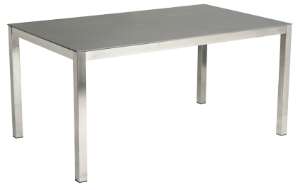 Table rectangulaire Cologne en inox et céramique gris anthracite