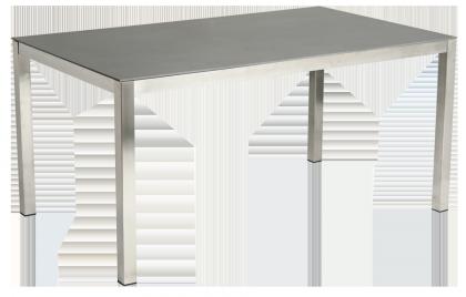 Table rectangulaire Cologne en inox et céramique gris anthracite