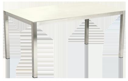 Table rectangulaire Cologne en inox et céramique ivoire