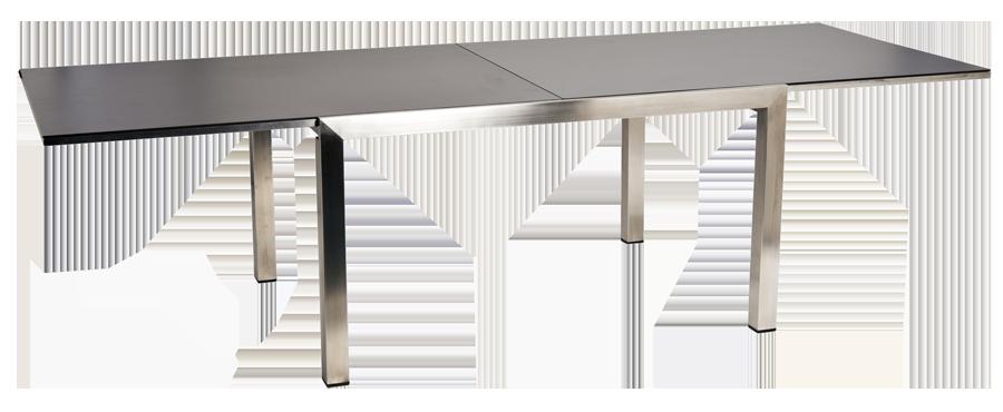 Table extensible en inox et c ramique gris anthracite for Table exterieur ceramique