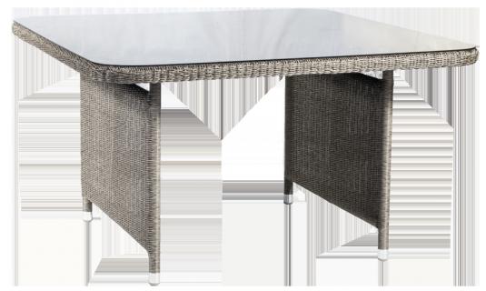 Table carrée Monte Carlo gris vintage 1.3 x 1.3m avec verre