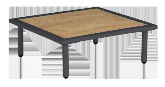 Table basse carrée gris anthracite Beach 70 x 70 x 22.5 cm avec plateau roble