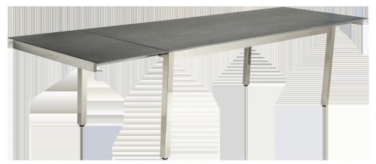 table extensible cologne en inox et c ramique gris anthracite avec rallonge int gr e. Black Bedroom Furniture Sets. Home Design Ideas