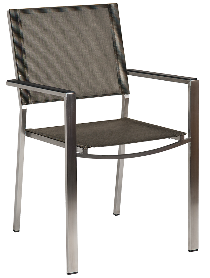 fauteuil cologne empilable inox et toile polyester gris anthracite. Black Bedroom Furniture Sets. Home Design Ideas