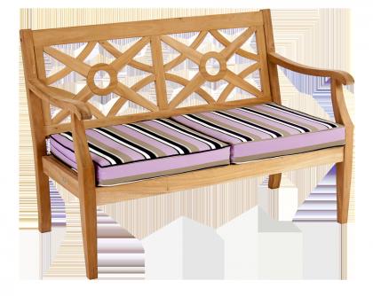 Canapé Heritage Mahogany avec coussin rayé noir/taupe/blanc/prune