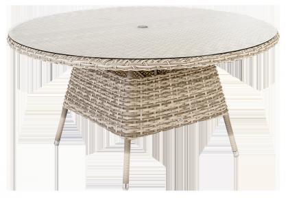 Table ronde Kool diam 1.5 m avec sur-plateau verre