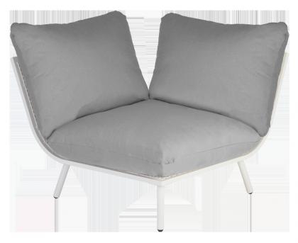 Module d'angle blanc pour salon Beach avec coussins coloris au choix