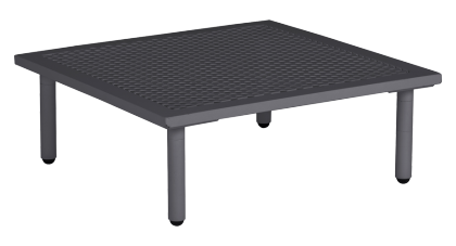 Table basse carrée gris anthracite Beach 70 x 70 x 22.5 cm avec plateau aluminium