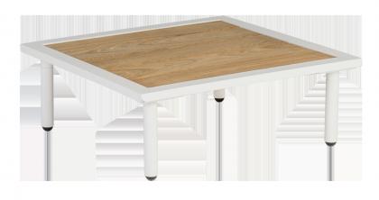 Table basse carrée blanche Beach 70 x 70 x 22.5 cm avec plateau roble