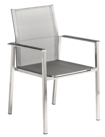 Fauteuil Cologne Empilable Inox et toile polyester gris anthracite