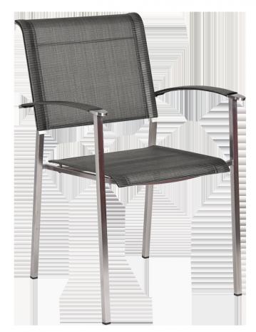 Fauteuil Cologne Empilable Inox et toile polyester gris anthracite et pieds carrés