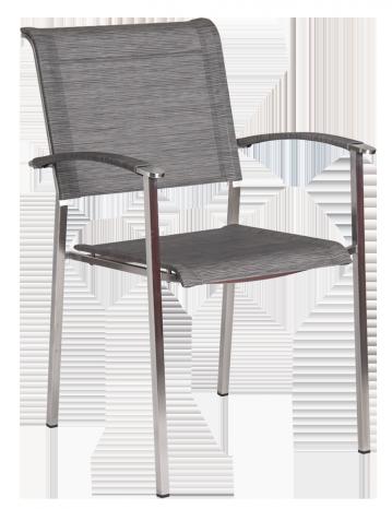 Fauteuil Cologne Empilable Inox et toile polyester gris clair et pieds carrés