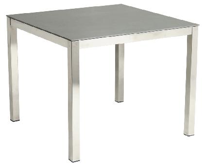 Table carrée Cologne en inox et céramique gris anthracite