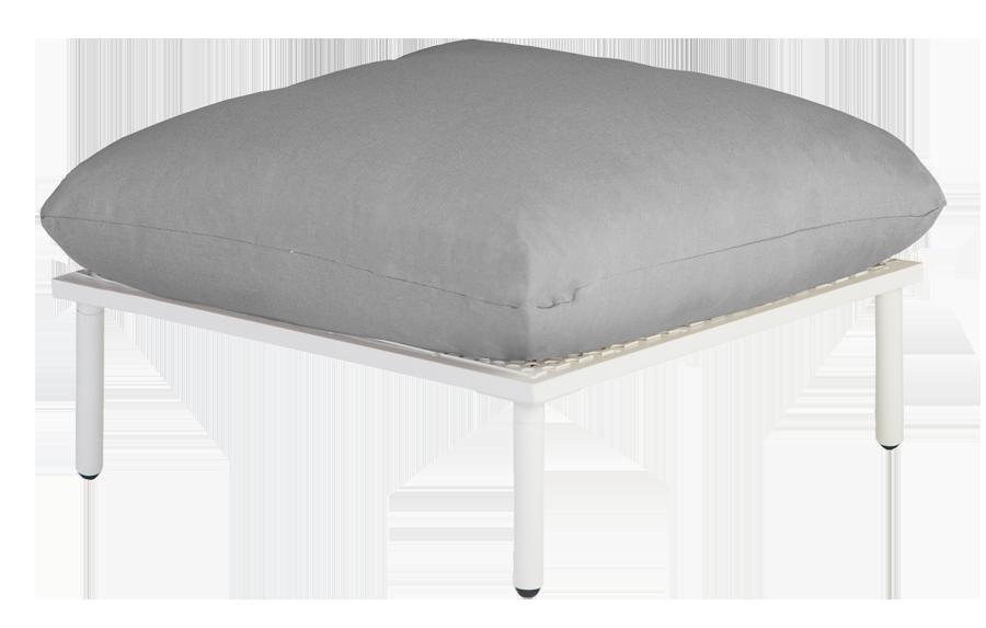 repose pieds blanc pour salon beach avec coussins coloris au choix. Black Bedroom Furniture Sets. Home Design Ideas