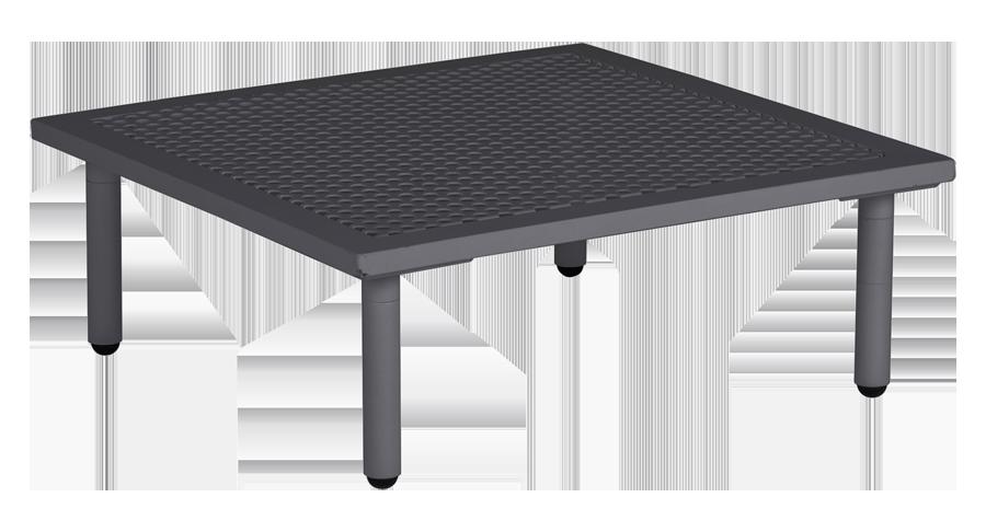 Table basse carr e gris anthracite beach 70 x 70 x 22 5 cm avec plateau aluminium - Table basse gris anthracite ...