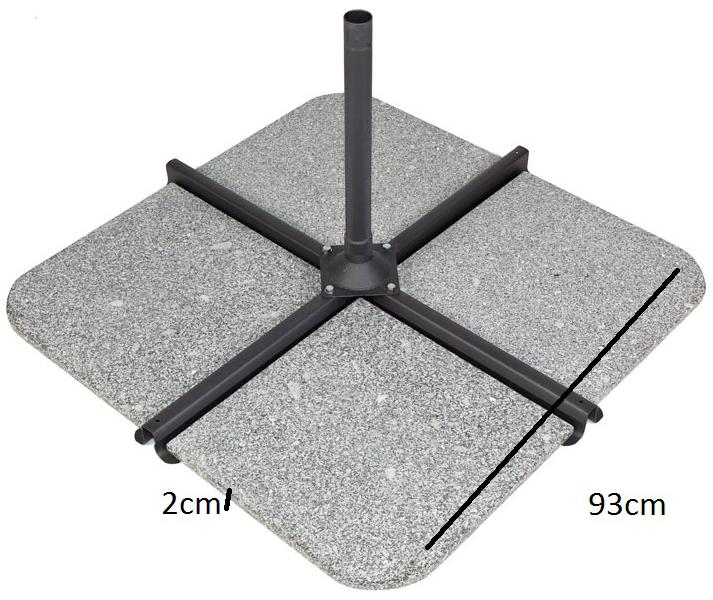 Pied de parasol granit 50 kgs pour parasol déporté